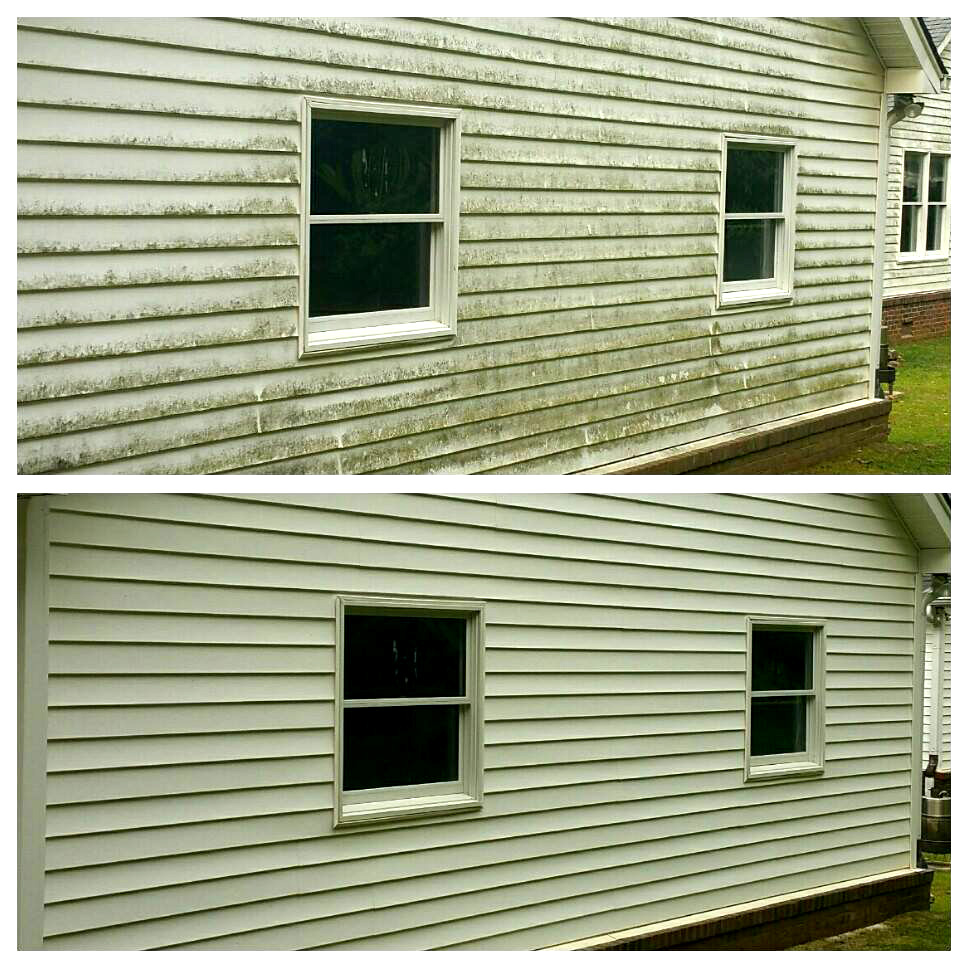 Pressure washing siding removing mold and mildew extreme House side
