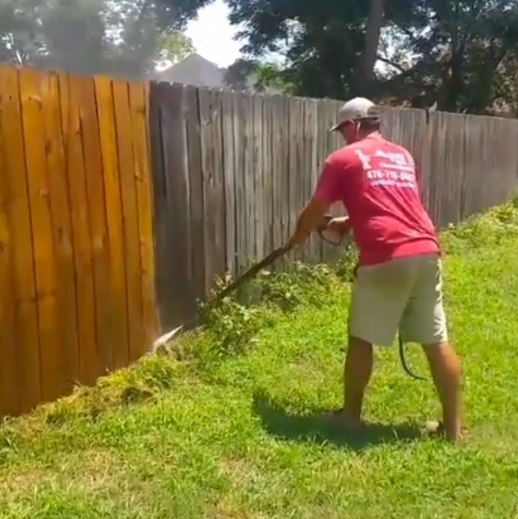 Pressure washing fence